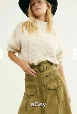 Women's NWT Free People The Feeling of Falling Long Utility Ripe Olive skirt S