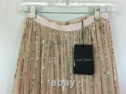 Women's Needle and Thread Shimmer Sequin Maxi Skirt, Size 0 -Rose Quartz/Silver