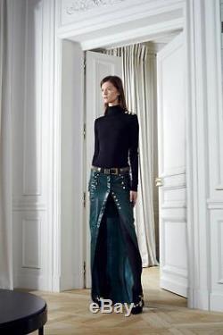 Womens Balmain Green Leather Maxi Long Boot Skirt Size 40