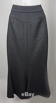 Womens Chanel 08A Black Ribbed Wool Maxi Skirt Size 38