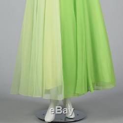 XL 1970s Green Colorblock Maxi Dress Long Sheer Sleeves Full Skirt Party 70s VTG