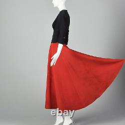 XS 1940s Color Block Evening Dress Red Maxi Skirt Formal Cocktail Party 40s VTG