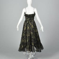 XS 1970s Long Black Prom Dress Gold Glitter Flocking Sleeveless Full Skirt 70s