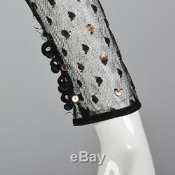 XS 1970s Party Dress Sheer Illusion Neckline Long Sleeves Maxi Skirt 70s VTG