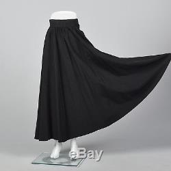 XS Yves Saint Laurent Rive Gauche Long Black Maxi Skirt Formal Separates VTG 70s