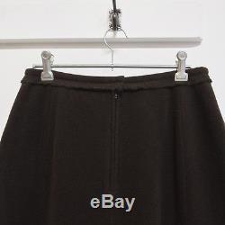 Y'S YOHJI YAMAMOTO brown wool fleece raw edge maxi skirt JP 3 AU 8 S