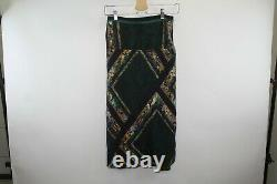 Y189 Dries Van Noten 100% Silk Maxi Skirt Wrap Marble Print Green Size 36