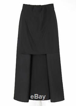 YOHJI YAMAMOTO Noir Black Wool Front Pleated Silk Detail Long Maxi Skirt Size 3