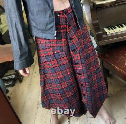 YOHJI YAMAMOTO Ys Assymetric Textured Tartan Skirt 32