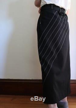 Yohji Yamamoto 1990s Black Wool Maxi Skirt Button Front Paper Bag Waist Small