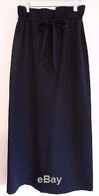 Yohji Yamamoto Black Wool Gabardine Maxi Skirt Trouser Style Back Tie Womens M