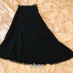 Yohji Yamamoto Silk Wool Asymmetric Long Black Maxi Skirt Raw Hem Size 3 (M-L)