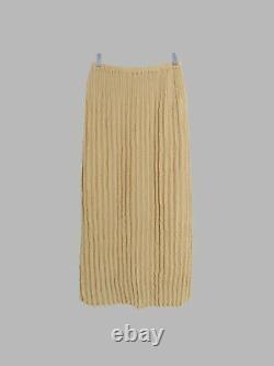 Yoshiki Hishinuma Peplum beige pleated poly elastic waist maxi skirt 2 S M