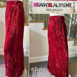 Yves Saint Laurent Rive Gauche 1970's Red Velvet Maxi Skirt Perfect for Holidays