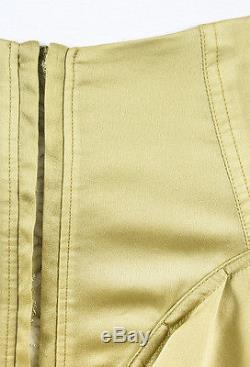 Yves Saint Laurent Rive Gauche Green Silk Lace Ruffled Maxi Skirt SZ 36
