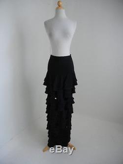 Yves Saint Laurent (Sm.) $3325 Black Tiered CutOut Full-Length Formal Maxi Skirt