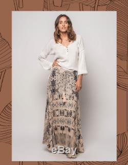 Z&L Europe Free people style Boho Beige Kimono Duster/ Skirt 2pc Set Aztec M NWT