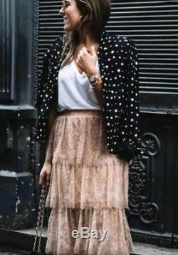 Zara Beautiful Floral Long Flowing Delicate Maxi Skirt New Bloggers Dress