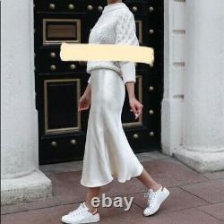 Zara Ltd Edition Ecru cream Maxi slip Skirt Bridesmaid bloggers Fave Rare! S