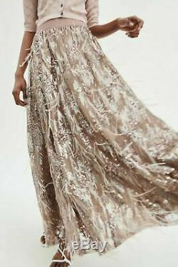 Zara New Nude Beige Pink Limited Edition Long Maxi Feather Skirt 2488/013 Large