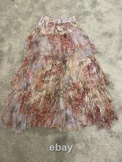 Zimmermann Botanica Yoke Silk Tiered Skirt Sz 0 NEW