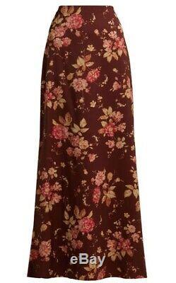 Zimmermann Unbridled Contour Skirt Burghandy Floral Maxi Wool $1,100 RRP