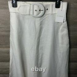Zimmermann Women's Size 6 Ivory Belted High Waist Super Eight Linen Maxi Circle